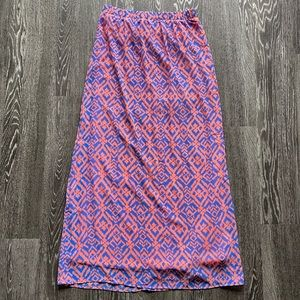 Forever21 Summer Coral and Blue Print Maxi Skirt
